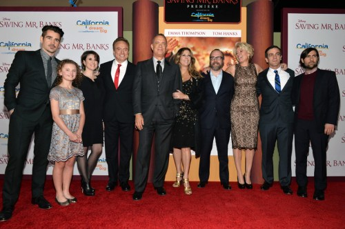 "BURBANK, CA - DECEMBER 09:  (L-R) Actors Colin Farrell, Annie Rose Buckley, Melanie Paxson, Bradley Whitford, Tom Hanks, Rita Wilson, Paul Giamatti, Emma Thompson, B.J. Novak and Jason Schwartzman attend the U.S. Premiere Of Disney's ""Saving Mr. Banks"" at Walt Disney Studios on December 9, 2013 in Burbank, California.  (Photo by Alberto E. Rodriguez/WireImage) *** Local Caption *** Colin Farrell;Annie Rose Buckley;Melanie Paxson;Bradley Whitford;Tom Hanks;Rita Wilson;Paul Giamatti;Emma Thompson;B.J. Novak;Jason Schwartzman"