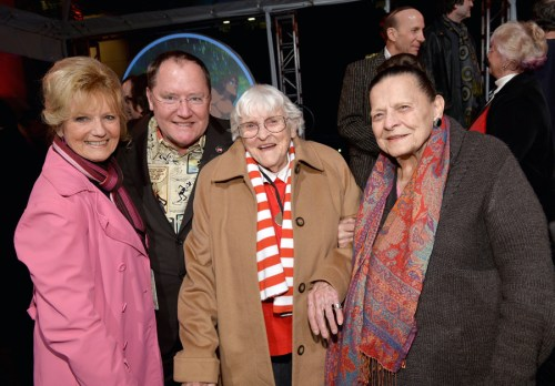 BURBANK, CA - DECEMBER 10: (L-R) Voice actress Kathryn Beaumont, executive director John Lasseter, Inker/scene planner Ruthie Tompson and stylist Alice Davis attend the 90 Years of Disney Animation  celebration at Walt Disney Studios on December 10, 2013 in Burbank, California.  (Photo by Alberto E. Rodriguez/Getty Images for Disney Animation) *** Local Caption *** Kathryn Beaumont; John Lasseter; Ruthie Tompson; Alice Davis