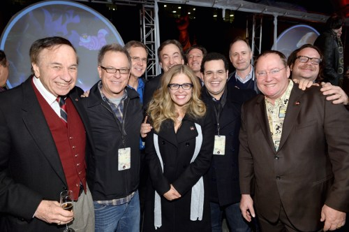BURBANK, CA - DECEMBER 10: (L-R) Songwriter Richard Sherman, director Rich Moore, director Chris Buck, director Jennifer Lee, producer Peter Del Vecho, General Manager, Walt Disney Animation Studios Andrew Millstein, actor Josh Gad, music supervisor Tom MacDougall, Executive director John Lasseter and composer Christophe Beck attend the 90 Years of Disney Animation celebration at Walt Disney Studios on December 10, 2013 in Burbank, California.  (Photo by Alberto E. Rodriguez/Getty Images for Disney Animation) *** Local Caption *** Richard Sherman; Rich Moore; Chris Buck; Jennifer Lee; Peter Del Vecho; Andrew Millstein; Josh Gad; Tom MacDougall; John Lasseter; Christophe Beck