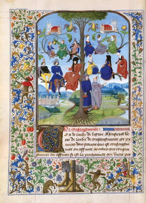 """Tree of Consanguinity,"" 1471, by Loyset Liedet (1420-79)"
