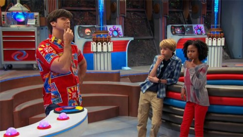 "Cooper Barnes as Ray, Jace Norman as Henry, and Riele Downs as Charlotte on ""Henry Danger"""