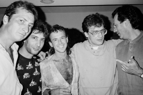Frank Miller, Neil Gaiman, Bill Sienkiewicz, Bernie Wrightson, and Dave Gibbons at the 1991 San Diego Comic-Con.