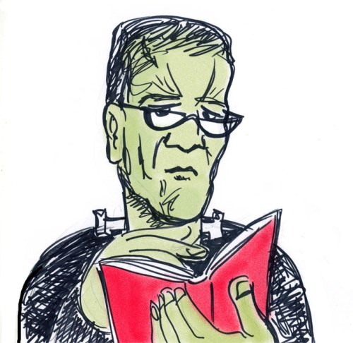 Frankenstein reads. Art by Henry Chamberlain