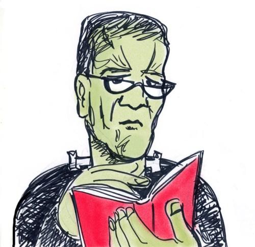 Frankenstein reads. Art by Henry Chamberlain