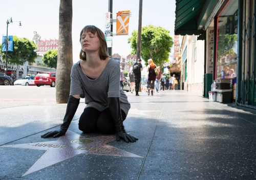 Mia Wasikowska gets inspired on Hollywood Boulevard.