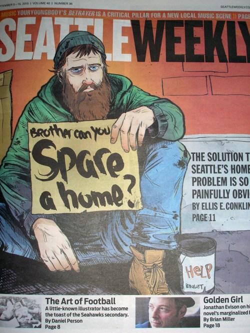 Joshua Boulet illustration for Seattle Weekly