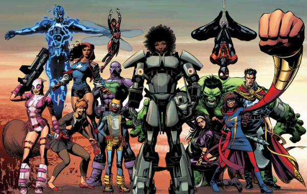 From left: Gwenpool, Mosaic, Squirrel Girl, Miss America Chavez, Wasp, Prowler, Lunella Lafayette, Riri Williams, Hawkeye, Hulk, Spider-Man, Ms. Marvel and Doctor Strange