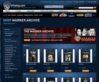 Warner Archive screen shot