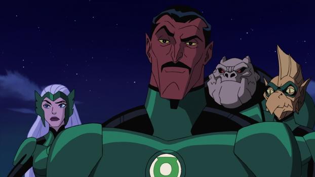Sinestro and fellow Lanterns Boodikka, Kilowog, and Tomar-Re