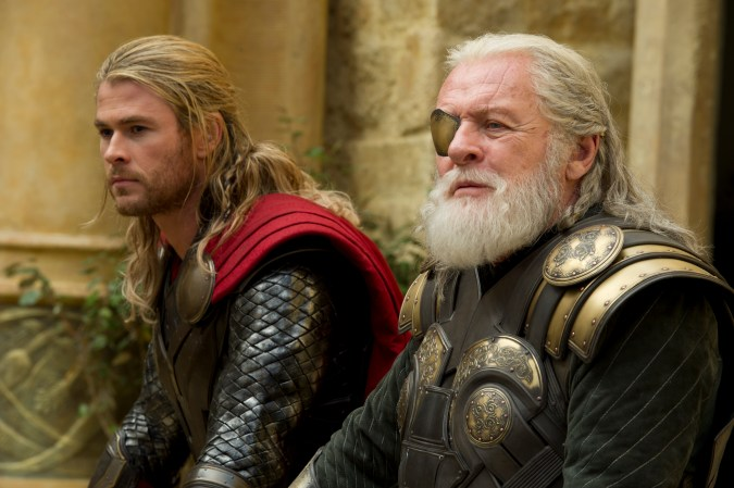Anthony Hopkins and Chris Hemsworth in Thor: The Dark World