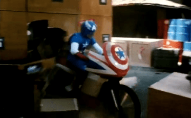 Captain America and his motorcycle