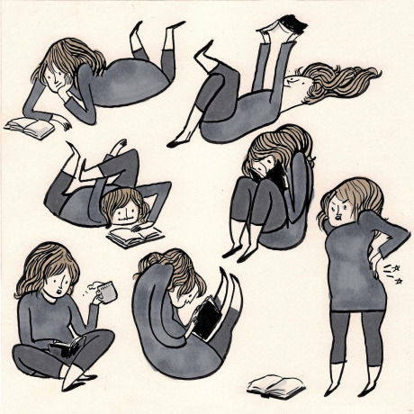 Kate Beaton's reading poses