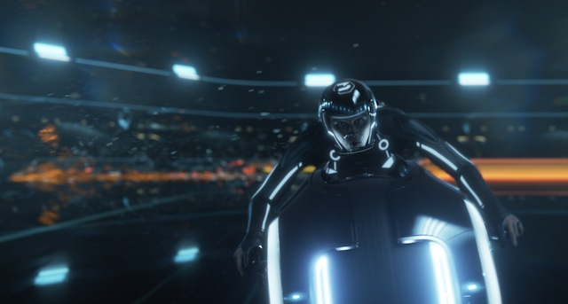 Sam on lightcycle in Tron: Legacy
