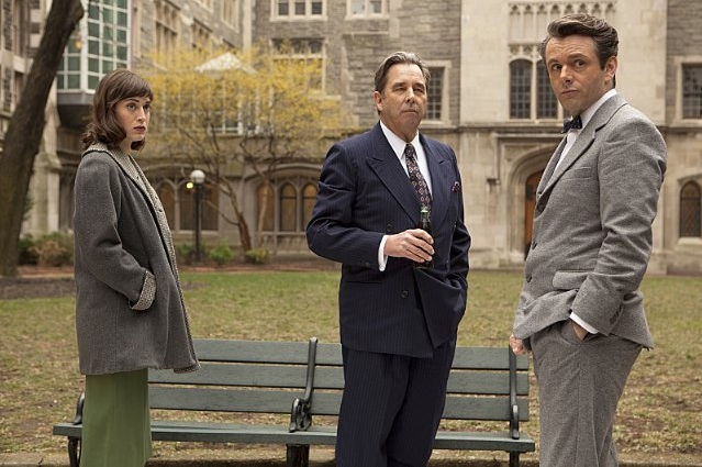 Lizzy Caplan, Beau Bridges, and Michael Sheen in Masters of Sex