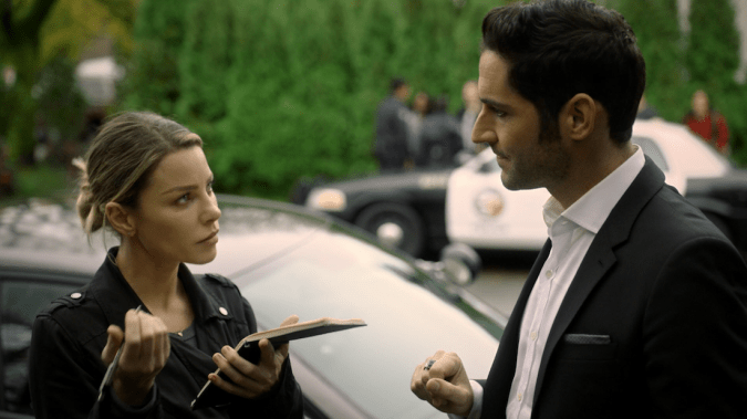Lauren German and Tom Ellis in Lucifer