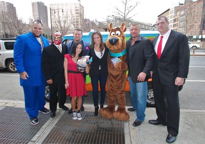 WWE and Scooby-Doo: Brodus Clay, Sin Cara, The Miz, AJ Lee, Stephanie McMahon, Scooby-Doo, Triple H, and Kane