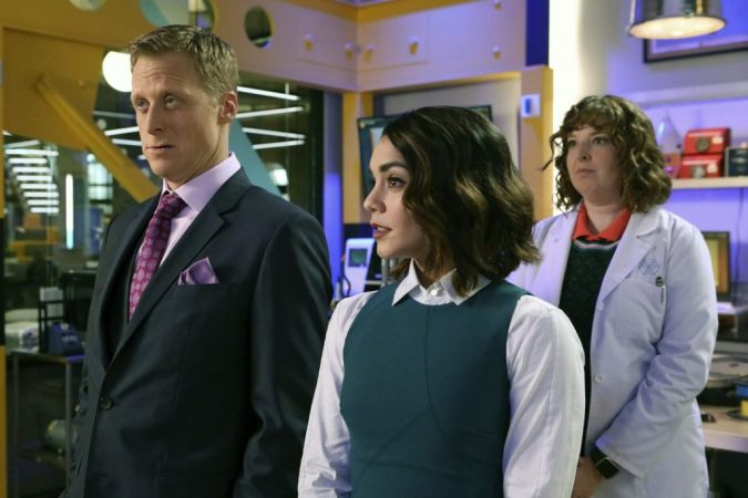 Powerless: Alan Tudyk as Van Wayne, Vanessa Hudgens as Emily, and Jennie Pierson as Wendy