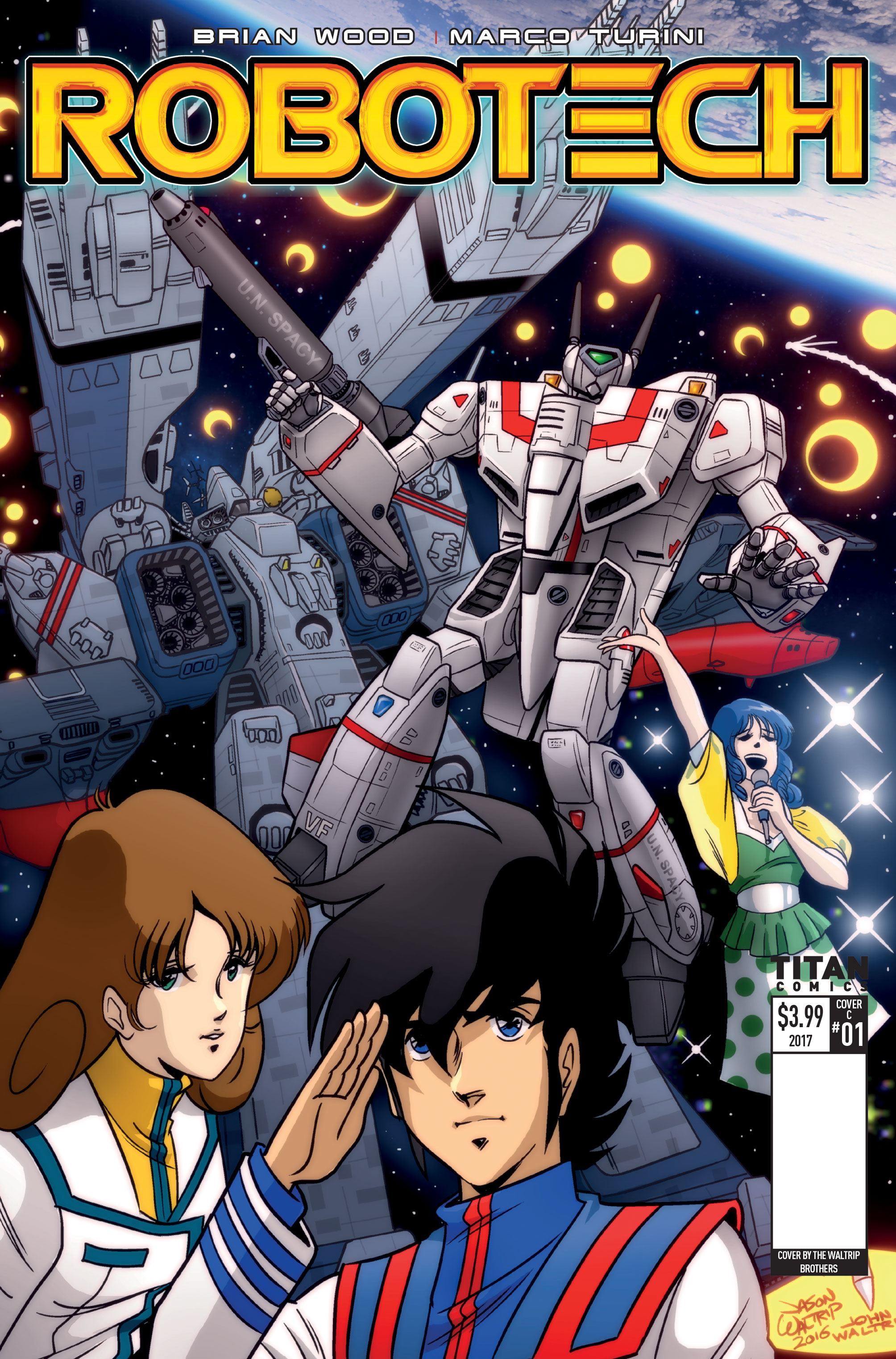 Robotech #1 retro variant cover by the Waltrip Bros.