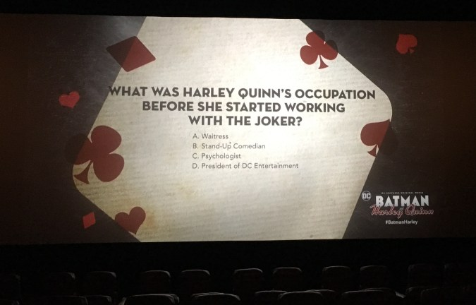 Batman and Harley Quinn trivia slide