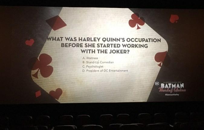 Batman and Harley Quinn trivia slide