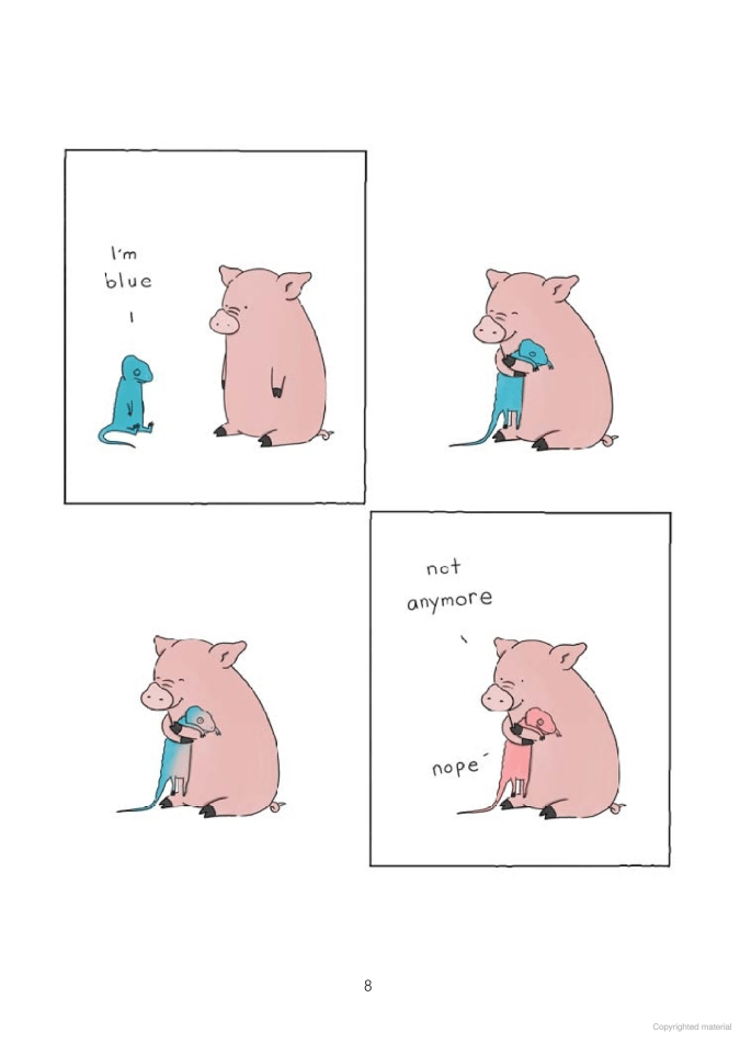 Pig and blue lizard cartoon by Liz Climo