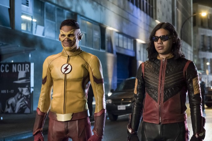 Keiynan Lonsdale as Kid Flash and Carlos Valdes as Vibe on The Flash