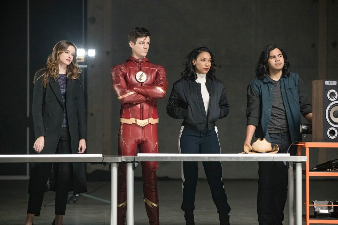 Team Flash: Danielle Panabaker as Caitlin Snow, Grant Gustin as Barry Allen, Candice Patton as Iris West, and Carlos Valdes as Cisco Ramon