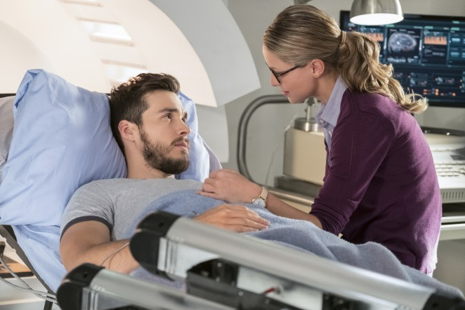 Chris Wood as Mon-El and Melissa Benoist as Kara in Supergirl
