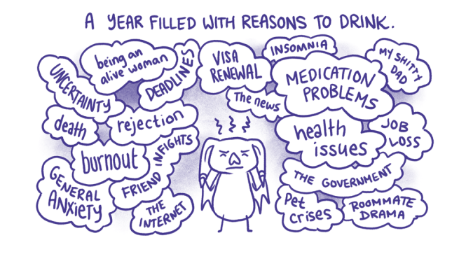 A Year Filled With Reasons to Drink - Dry Spell panel by Kate Leth