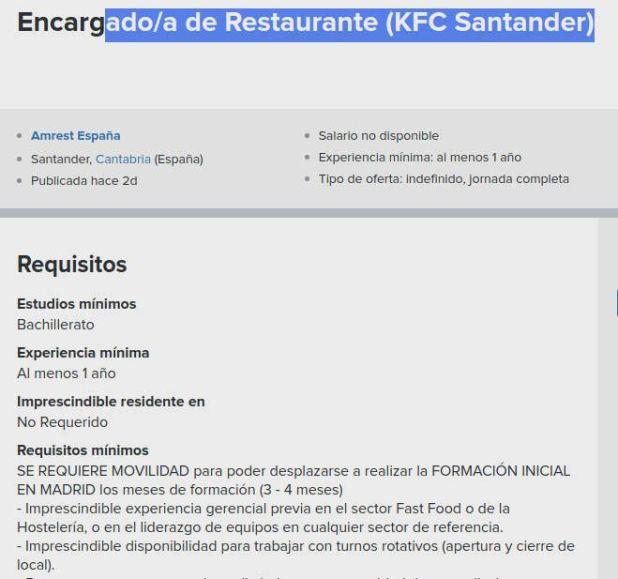 Encargado Restaurante KFC Santander
