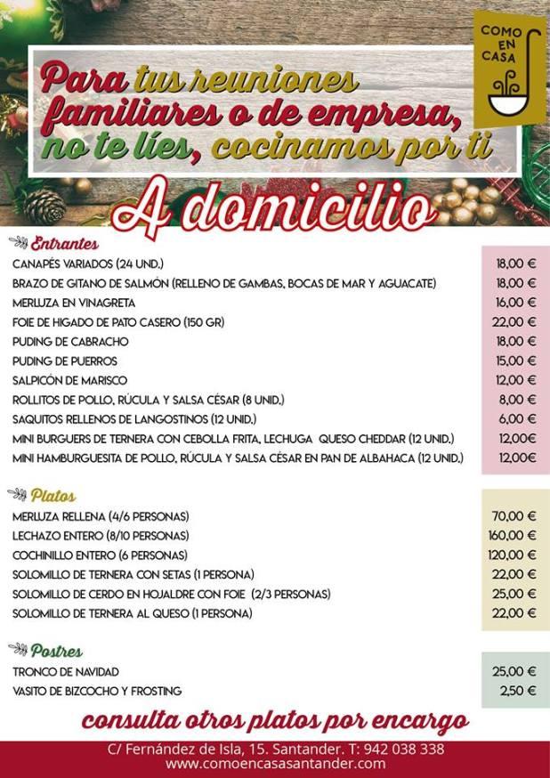 Carta de Navidad para Llevar - Como en Casa Santander