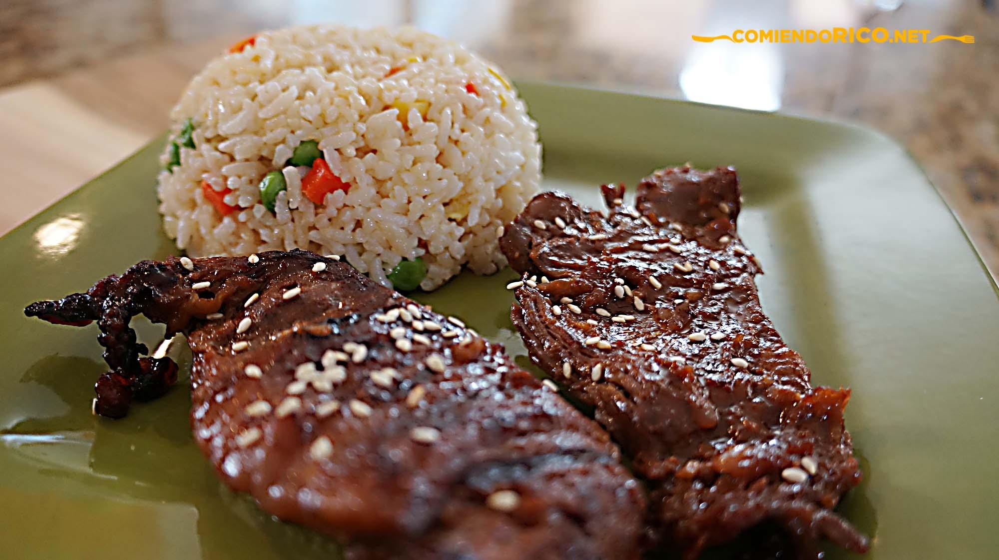 mongolian beef, carne china, hoisin sauce