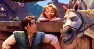 (L-R) Pascal, Flynn, Rapunzel, Maximus