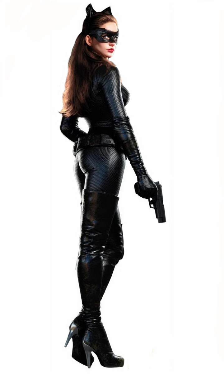 Anne Hathaway as catwoman in tight black leather costume