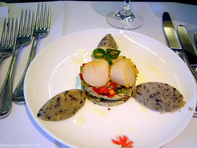 China Airline CI18 TAIPEI - NARITA First Class 機内食 Appetizer Cold piperade sea scallop with olive tapenade