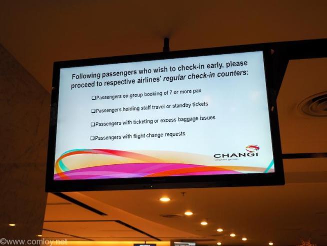 チャンギ空港 early Check-In
