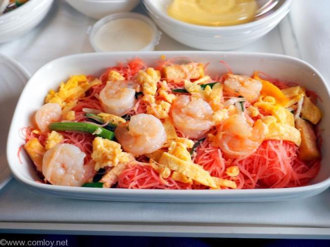 マレーシア航空 MH783 バンコク ー クアラルンプール ビジネスクラス機内食 Stir-fried Shrimp