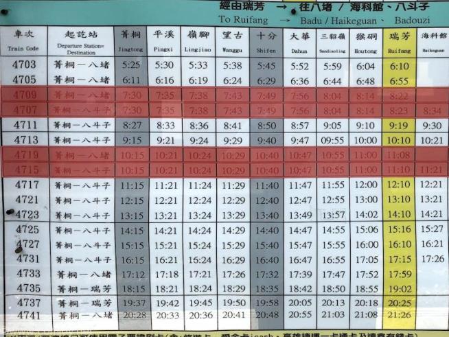 平渓線(ピンシーシエン)(Ping Xi Xian)時刻表 菁桐→十份→瑞芳 2018年5月現在