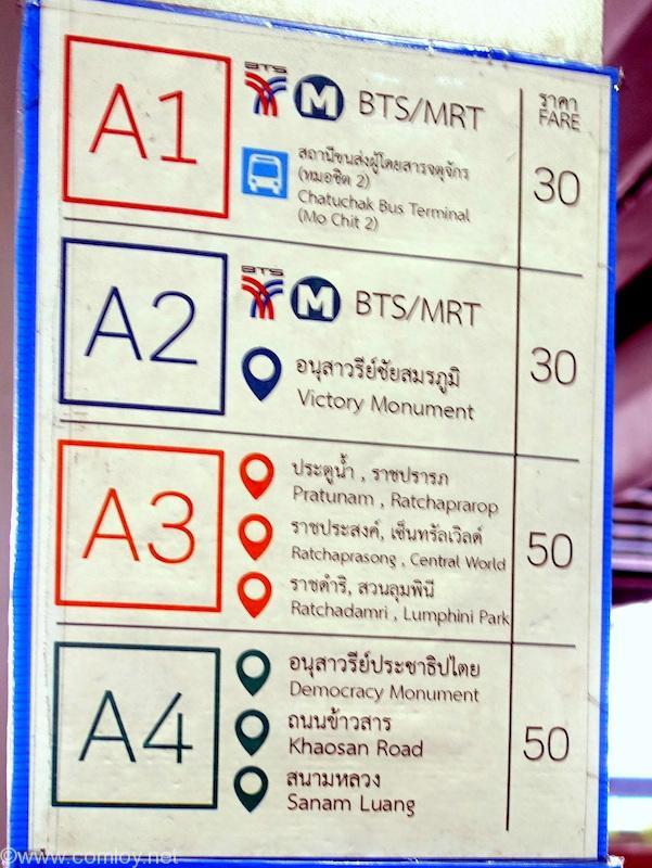 ドンムアン空港 エアポートバス行先標詳細