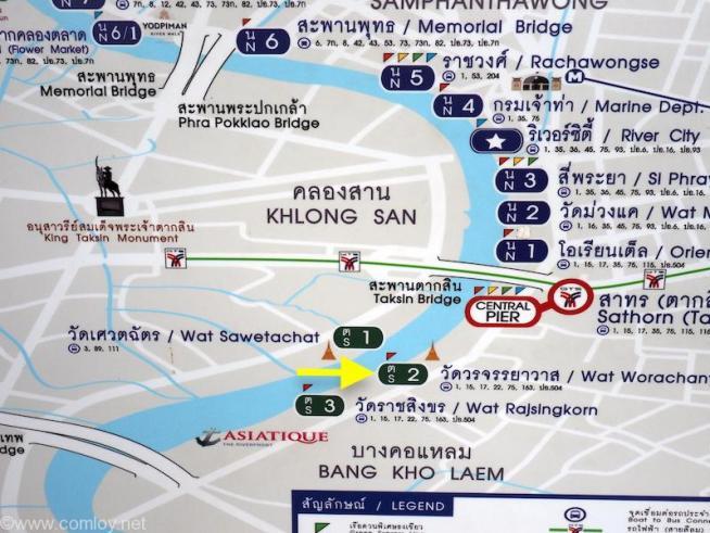 チャオプラヤーエクスプレス路線図