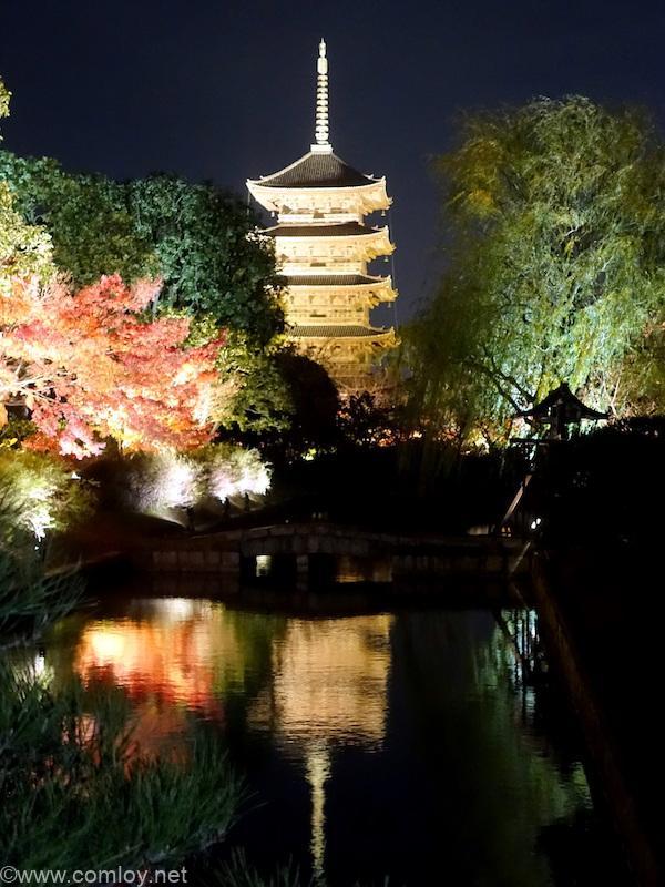 東寺ライトアップ川面に映る5重塔