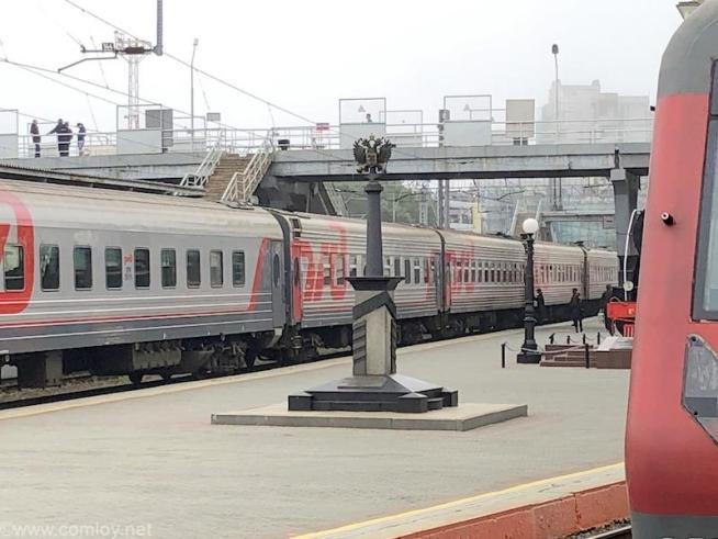 ウラジオストク駅 キロポスト エアロエクスプレスホーム側から