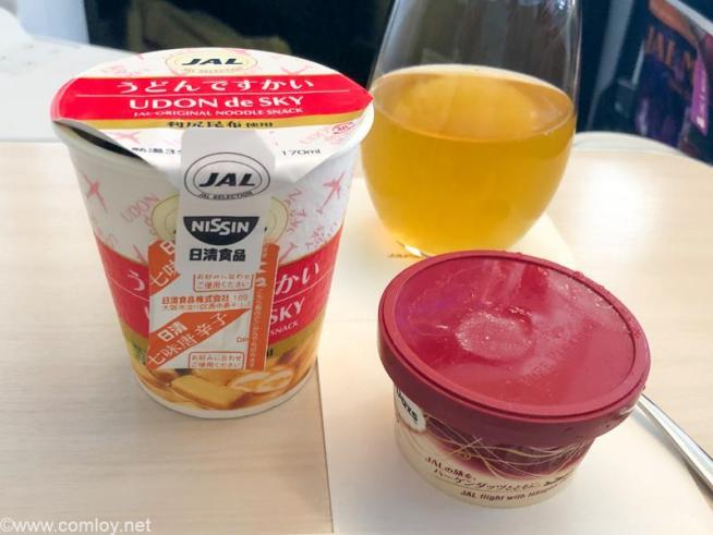 日本航空 JL31 羽田 - バンコク ビジネスクラス 機内食  到着前のお食事 うどんですかい