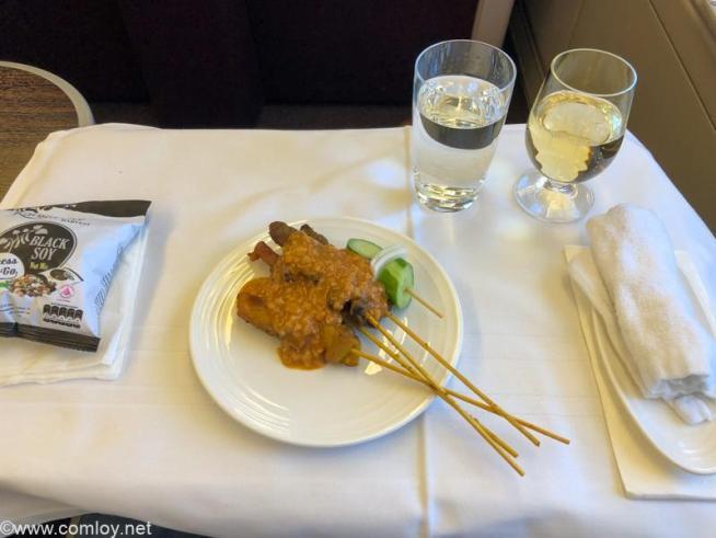 マレーシア航空 MH89 成田 - クアラルンプール ビジネスクラス機内食 MALAYSIAN SATAY