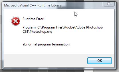 Photoshop CS4 Error