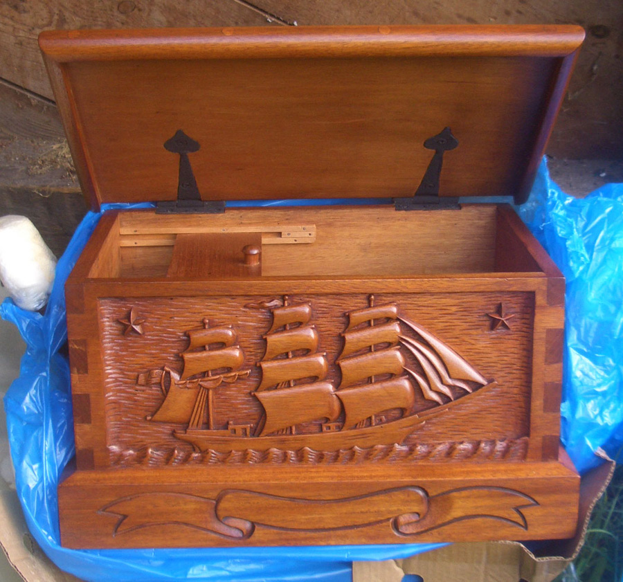 Command Presents Hand Carved Personalized Sea Chests