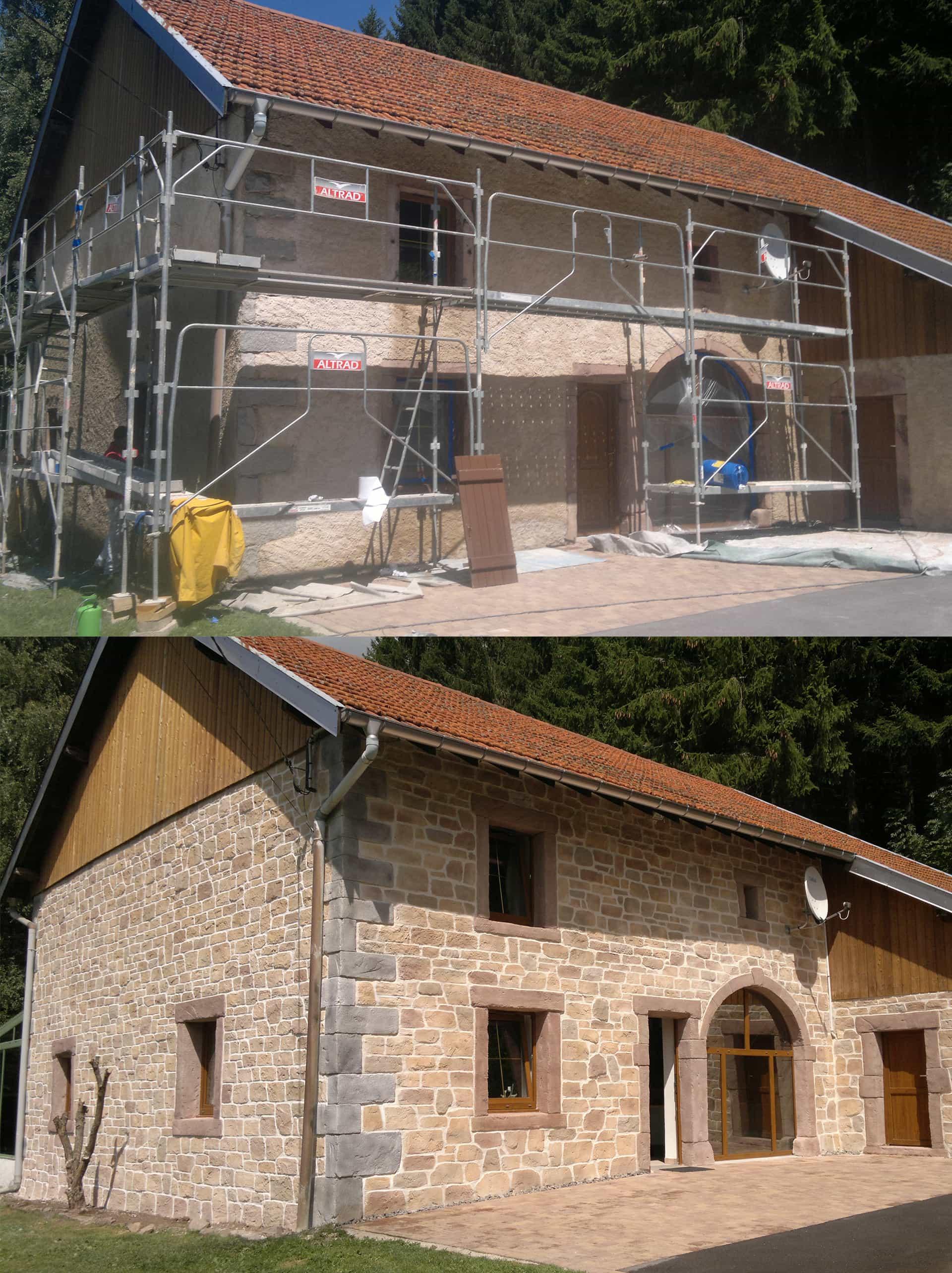 transformation de maison par l'entreprise jhg deco imitation de la pierre en lorraine
