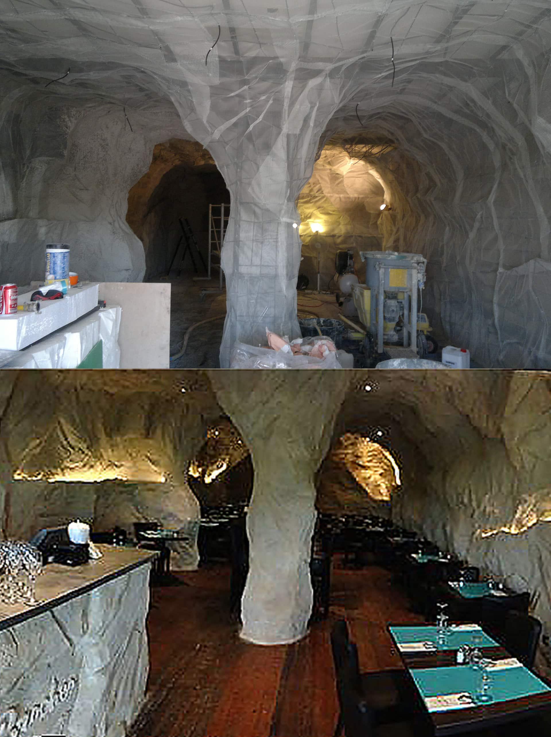 réalisation d'un décor en fausse roche dans un restaurant