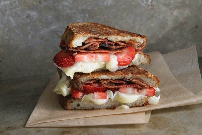 sandwich brie bacon and strawberries