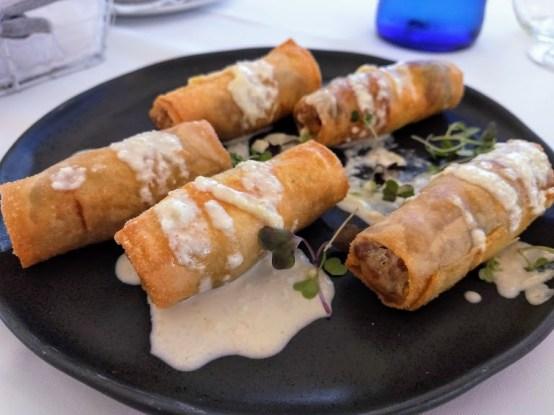 Crujiente de Secreto Ibérico con crema de queso